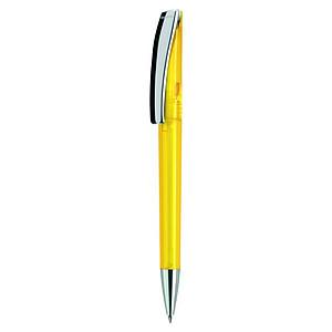 EVOMETAL Plastové kuličkové pero s kovovým klipem, modrá náplň, žluté - psací potřeby