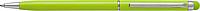 RUBBY Kovové kuličkové pero, modrá náplň, stylus pro kapac.displej, sv.zelené - psací potřeby