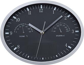 Nástěnné hodiny, oválné, s teplo a vlhkoměrem, černé