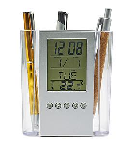 Držák na tužky s kalendářem, budíkem a teploměrem, plast