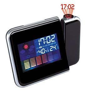 Budík, meteostanice, LCD displej, projektor, plast, černá