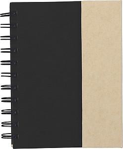 BOUNDY Poznámkový blok se značkovači a perem, černá