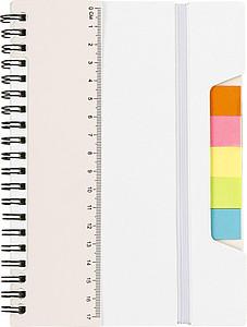 TREVIR Kroužkový zápisník s pravítkem a memo lístky, bílá