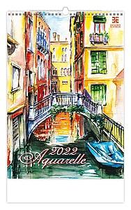Aquarelle 2021, nástěnný kalendář, prodloužená záda