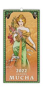 Alfons Mucha 2021, nástěnný kalendář, prodloužená záda