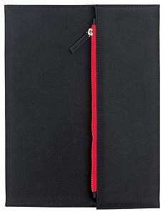 KOLIBA Černá sloha velikosti A4 s blokem a kapsou na šedý zip, červená
