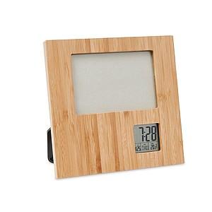 Fotorámeček s hodinami, bambusový