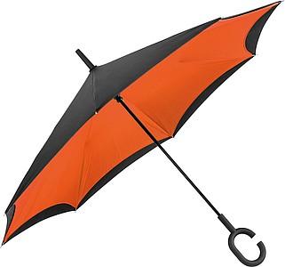 REVERSE Deštník, sklápějící se suchou stranou ven s rukojetí tvaru C, oranžová - pláštěnky