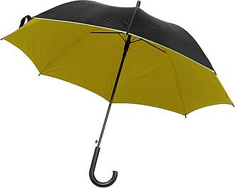 DYCK Automatický deštník, pr.100 cm, z vrchu černý, zespod žlutý - pláštěnky