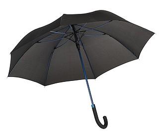 TELAMON Automatický holový deštník s pogumovanou rukojetí, černá/modrá - reklamní deštníky