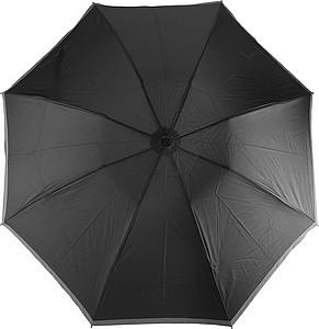 BERTÍK Automatickký OC skládací deštník s reflexním pruhem, černá - pláštěnky