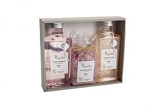ARANDA Dárková kazeta s růžovým vonným olejem ručníky s potiskem