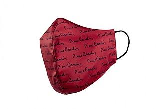 PIERRE CARDIN CARE rouška červená s černým potiskem - reklamní zápisník