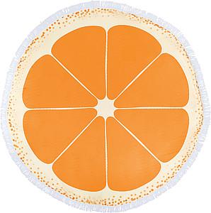 Kulatá plážová osuška s ovocným motivem. Průměr 150 cm. Oranžová.