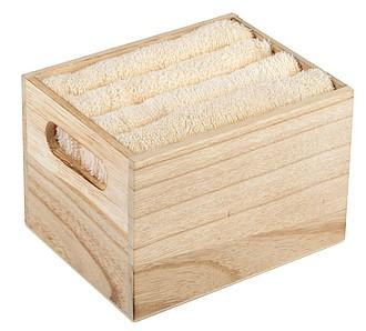 Sada 4 ručníků ve dřevěném boxu, béžová