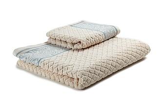 WINTER Set luxusních lososových ručníků se zdobenou bordurou 60x110 a 30x50 cm, 600 g, sv. modrá ručníky s potiskem