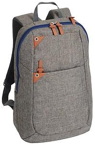 BALATER Šedý batoh na záda s přihrádkou na notebook, s modrým zipem