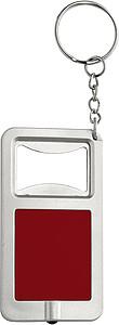 KALVIN Přívěšek na klíče s otvírákem a LED světlem, červený