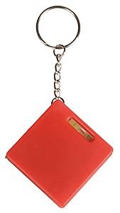 FRATEL Přívěšek na klíče se svinovacím metrem, vodováhou a mini KP, červená