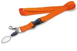 CORDONE Šňůrka na krk, karabina na mobil a klíče, oranžová