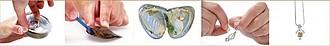 MINDANAO Set náhrdelníku a říční perly v lastuře, různé druhy