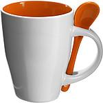 BRUNIT Kávový hrnek, 0,3 l, keramický,oranžová se lžičkou - reklamní hrnky