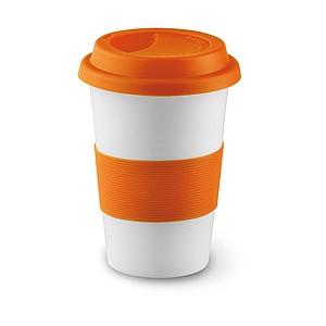 SENORA Keramický hrnek se silikonovým víčkem, bílá, oranžová - reklamní hrnky