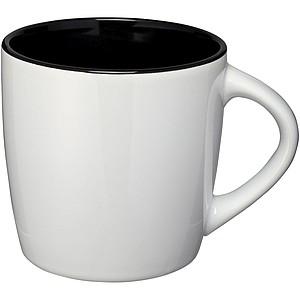 Bílý keramický hrnek s barevným vnitřkem, objem 340 ml, bílá/černá
