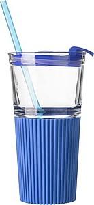 Skleněný kelímek se silikonovým obalem a plastovým víčkem, modrý