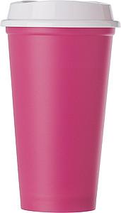 Plastový kelímek s bílým víčkem, růžový