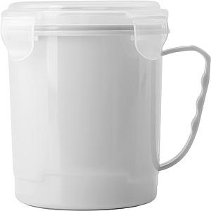 Plastový hrnek s víčkem, bílý