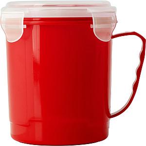 Plastový hrnek s víčkem, červený