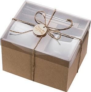 ALMERIA Keramická sada fondue na čokoládu se dvěma vidličkami v dárkové krabičce
