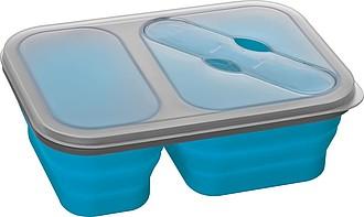 FOLOKO Velká skládací silikonová miska, která obsahuje i příbor uložený ve víčku