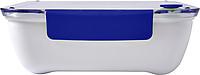 IZIBU Obědová krabička (920 ml) s průsvitným víkem a silikonovým uzávěrem, modrá