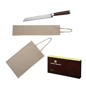 VS ABADAN sada 2 bavlněných sáčků na pečivo a nože na chleba v krabičce VS