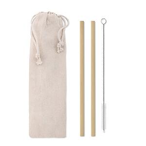 MADRENATA Sada 2 bambusových brček a čistícího štětečku v bavlněném sáčku
