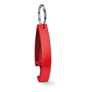 Klíčenka s funkcí otvíráku, červená