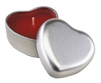 SRDÍČKO červená vonná svíčka v plechovce ve tvaru srdce