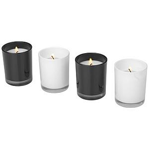 4-dílná sada svíček, bílá, černá