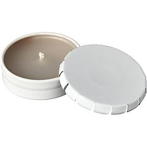 BAVOS Voňavá vanilková svíčka v plechovce s víčkem, bílá