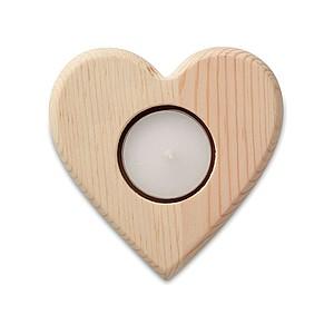 ENAMORADA Dřevěný svícen na čajovou svíčku ve tvaru srdce