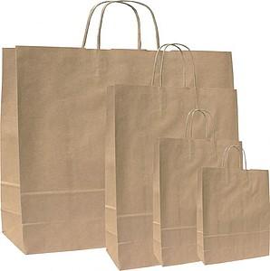 MONKA 23 Hnědá papírová taška 23x10x32 cm, kroucená držadla