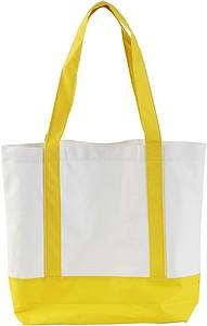 MILADA Nákupní taška, dlouhé rukojeti, žlutá papírová taška s potiskem
