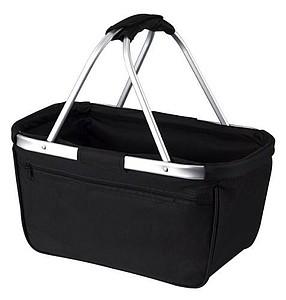 BERNARD Skládací nákupní košík s kapsou na zip, černá papírová taška s potiskem