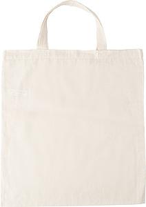 Nákupní taška, krátké rukojeti, béžová papírová taška s potiskem