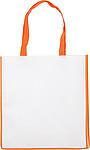 Nákupní taška z netkané textilie, bílá s oranžovým lemem