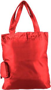 HINTON Nákupní taška balitelná do pytlíku s klipem, červená papírová taška s potiskem