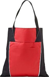Nákupní taška s přední kapsou a dlouhými uchy, červená papírová taška s potiskem
