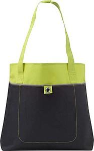 Nákupní taška s dlouhými uchy, zelená papírová taška s potiskem